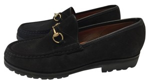 Gucci Lug Sole Suede Loafers Black Flats