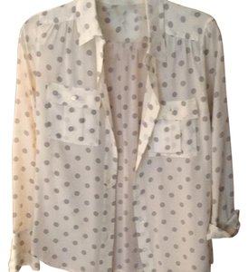 J.Crew Top Cream with grey polka dots