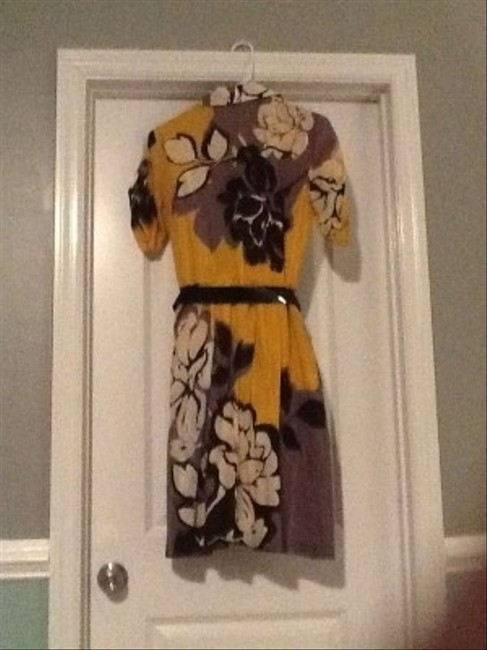 Mustard with gray,black and white accents Maxi Dress by Nine West