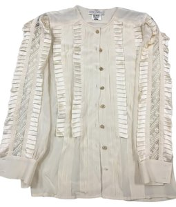 Escada Silk Ruffles Lace Button Down Shirt Ivory