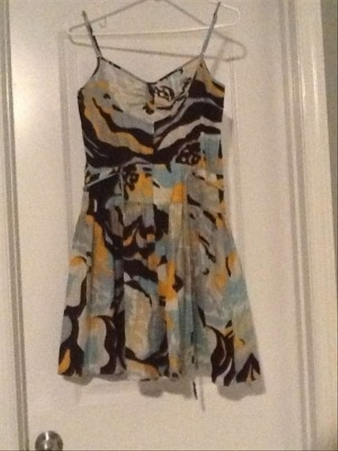 BCBGeneration short dress Mustard,light blue, dark brown Same Fabric Belt As on Tradesy