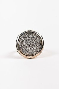 John Hardy John Hardy Sterling Silver And Pave White Topaz Lava Disc Cocktail Ring