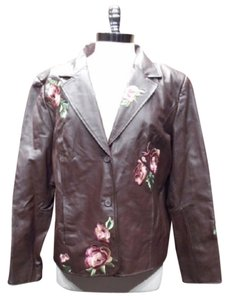 Pamela McCoy Vintage Leather Embroidered Sable Blazer