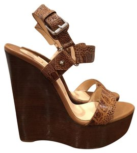 Christian Louboutin Sova Platform Stiletto Ostrich Heel brown Wedges