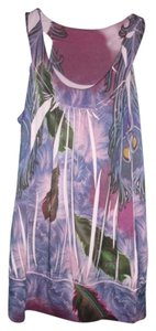 L8ter Peacock Feathers Gypsy Top Multi-Color