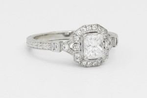 Asscher Cut Halo Engagement Ring (0.79 Cttw)