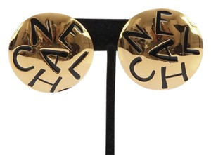 Chanel Chanel Vintage Gold-Tone Clip-On Earring CC Signature Round Jewelry