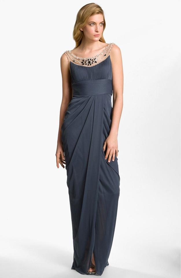 Adrianna Papell Charcoal Ornate Neck Embellished Draped Gown Long ...