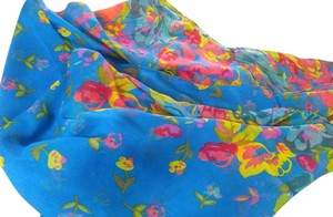 Other New Blue Floral Summer Scarf Long P2201