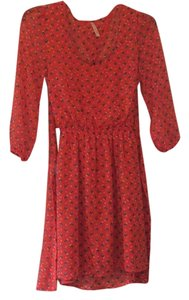 My Story short dress tomato red with owl pattern on Tradesy