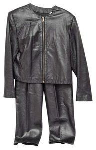 Lord & Taylor Lord & Taylor Ladies Black Leather Suit Jacket and Pants