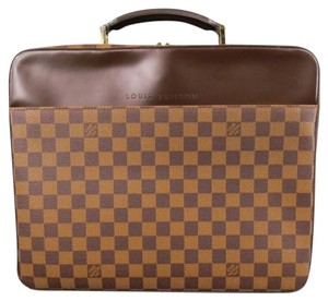 Louis Vuitton Briefcase Travel Strap Messanger Print Lv Checkered Brown Travel Bag