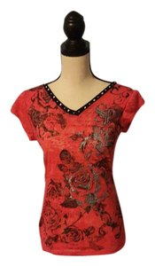 South Pole Collection Lace Embellished Sheer T Shirt Pink