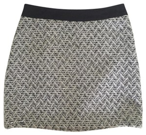 MILLY Mini Skirt Black, Silver, and White