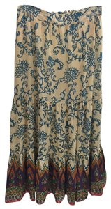 Free People Floral Maxi Skirt Beige