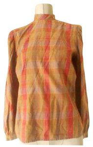 Dior Mint Vintage Accents Tan Red Purple Top plaid lightweight cotton mock t-neck