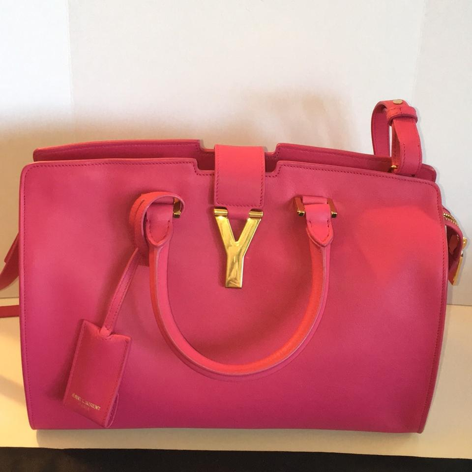7cea5bfa3a55 Saint Laurent New Ysl Yves Y-ligne Cabas Shoulder Pink Fuchsia Leather  Satchel - Tradesy