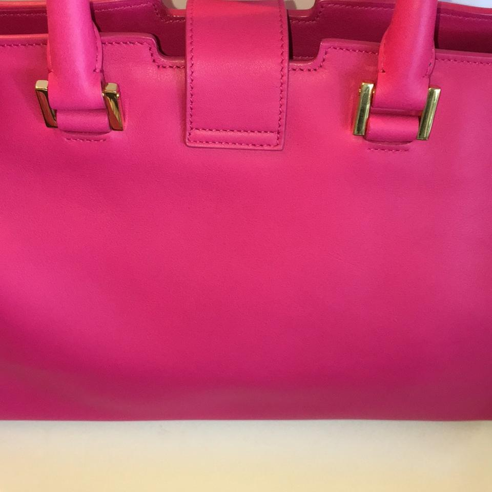 dbeef16cd412 Saint Laurent New Ysl Yves Y-ligne Cabas Shoulder Pink Fuchsia Leather  Satchel