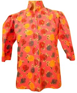 Emanuel Ungaro Mint Vintage Poofy 3/4 Sleeves Ungaro 'parallele Top pink with red, blue, yellow floral print button down