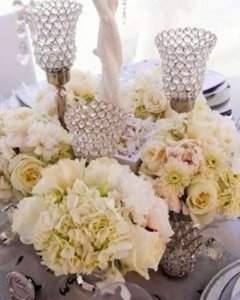 Crystal with Silver Base Bling Candelabras Centerpiece