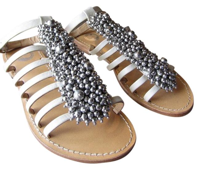 Item - Off White/Silver Baubles and Bells Sandals Size US 8 Regular (M, B)