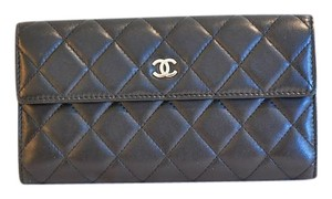 Chanel Black Quilted Lambskin Leather CC Wallet