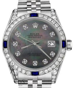 Rolex Women's Rolex 31mm Datejust Black MOP Dial Sapphire & Diamond Bezel