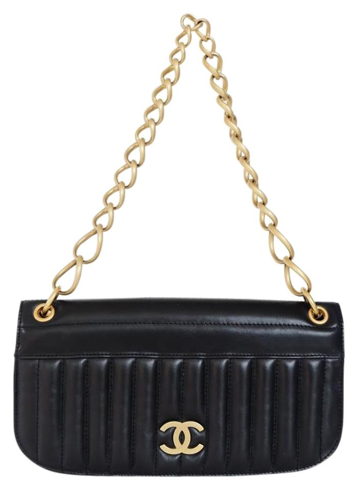 ba748675c9b Chanel Clutch Vintage Chain Link Vertical Quilted Leather Black Lambskin  Shoulder Bag