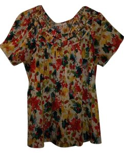 Kim Rogers Top multi colored light weight fabric red blue yellow