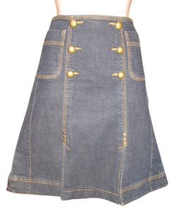 INC International Concepts Nautical Kick Pleat Skirt Dark Wash Denim