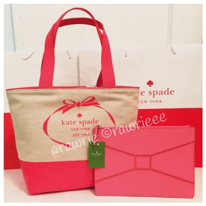 Kate Spade Set Bow Tie Set Gift Set Travel Set Tote in coral