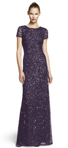Adrianna Papell Purple Scoop Back Sequin Gown Dress