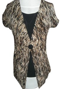 Notations Black Under Layer Large Cap Sleeves Longer Front Stripe Top Brown