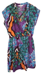 Peter Nygard short dress Purple green multi Bright on Tradesy