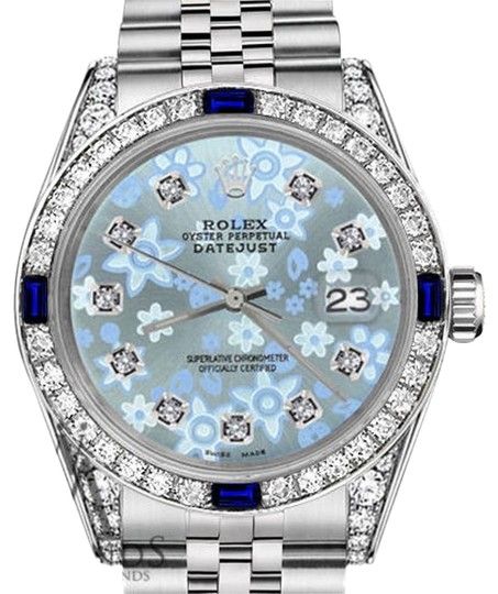 Preload https://img-static.tradesy.com/item/18507934/rolex-ladies-26mmdatejust-glossy-iceblue-flower-dial-sapphire-diamond-watch-0-1-540-540.jpg