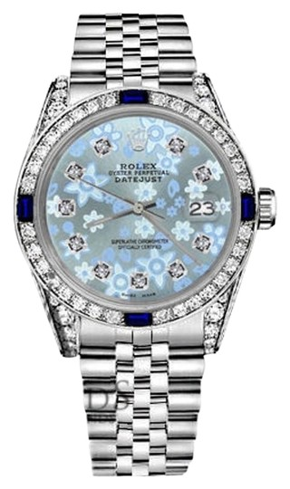 Preload https://img-static.tradesy.com/item/18507994/rolex-36mm-datejust-glossy-iceblue-flower-dial-sapphire-diamond-bezel-watch-0-2-540-540.jpg