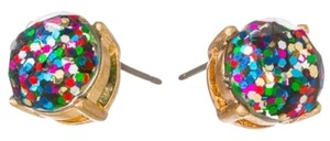 Gold Tone Multi Color Round Stud Earrings