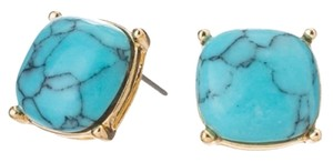 Other Gold Tone Turquoise Howlite Square Stud Earrings