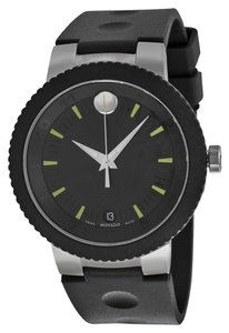 Movado Black Dial Stainless Steel Black Rubber Strap Sport MENS Watch