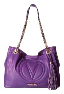 Mario Valentino Classic Leather Gold Hardware Satchel in Orchid