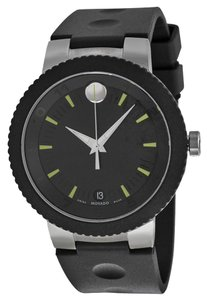 Movado Black PVD Staiess Steel Rubber Strap Designer MENS Watch