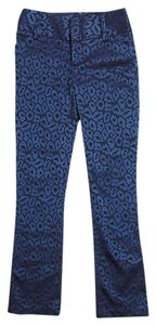 Alice + Olivia Low-rise Animal Print Straight Pants Blue