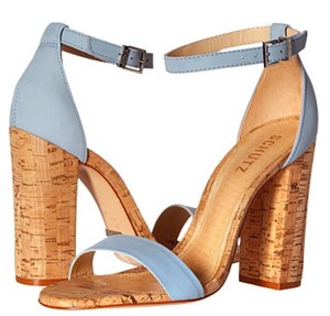 SCHUTZ Leather Ankle Strap Cork Salon Jean Sandals