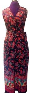 Black Maxi Dress by Sag Harbor Teal Red Paisley Wrap Bohemian