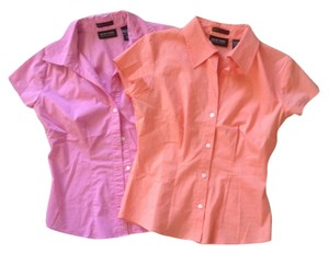 New York & Company Set Office Flash Sale Button Down Shirt Sorbet orange & pink