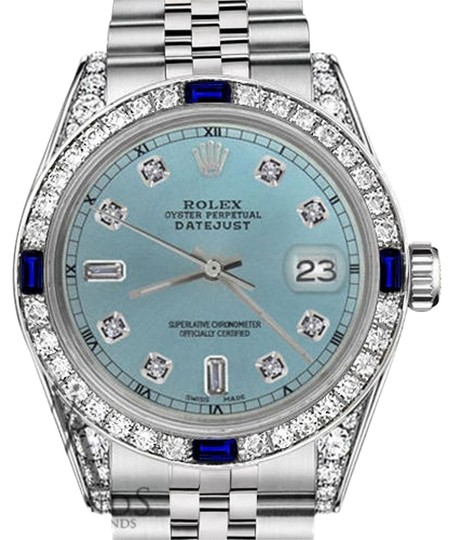 Preload https://img-static.tradesy.com/item/18509365/rolex-women-s-31mmdatejust-iceblue-dial-sapphire-and-diamond-accent-rt-watch-0-1-540-540.jpg