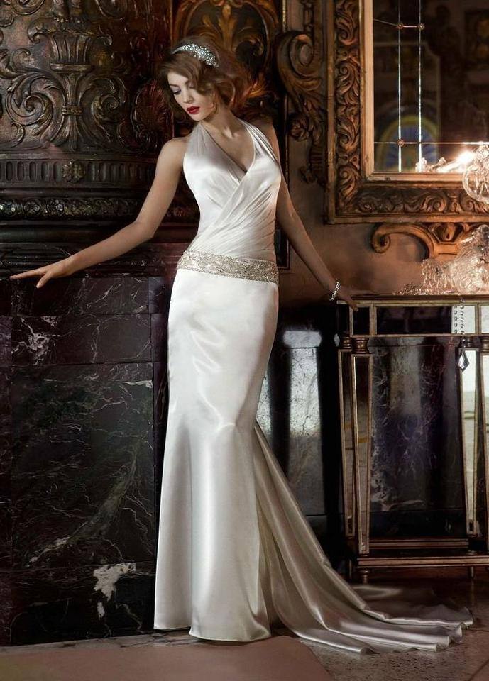 David\'s Bridal Ivory Silk Charmeuse Halter W/ Ruched Surplice ...