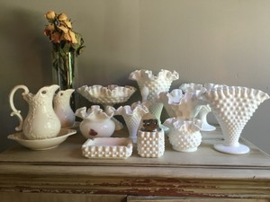 13 Assorted Milk Glass Items