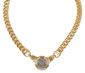 Givenchy Gold Plated Vintage Curb Chain With Logo Medallion and Rhinestones