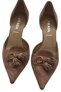 Prada Kitten Heels Smart Suede Tassels Pointed Toe Neutral Dersert suede Pumps